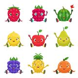 Fruit And Berries Cute Girly Characters Sitting And Waving Royalty Free Stock Image