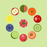 Fruit and berries icons Stock Photos