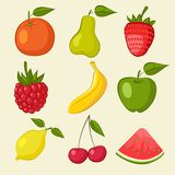 Fruit and berries icons Stock Images