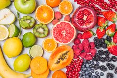 Fruit and berries rainbow colors. stock photo