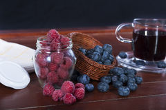Fruit berries, raspberries and blueberries Stock Photography