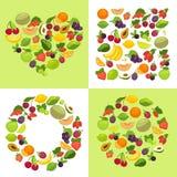 Fruit and berries shape emblem template organic food vector illustration