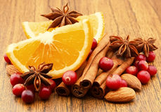 Fruit. Berries and spices Stock Photography
