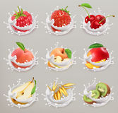 Fruit, berries and yogurt. 3d vector icon set 1. Fruit, berries and yogurt. Set with strawberry, raspberry, cherry, pear, peach, apple, mango, kiwi and grain. 3d Royalty Free Stock Photos