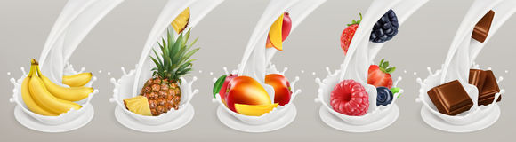 Fruit, berries and yogurt. Realistic illustration. Vector icon set Royalty Free Stock Photos