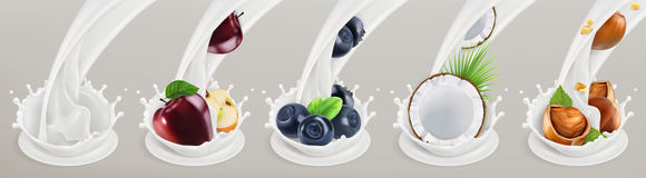Fruit, berries and yogurt. Realistic illustration. Vector icon set Stock Photography