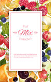 Fruit and berry banner. Vector fruit and berry vertical banner on white background. Design for juice, sweets and pastries filled with fruit, dessert menu, health vector illustration