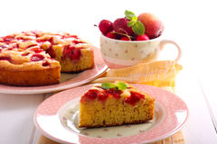 Fruit and berry cake, sliced, Stock Photos