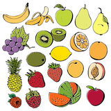 Fruit and berry collection. Fruit and berry set isolated on a white background vector illustration