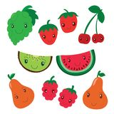 Fruit and berry collection. Vector cartoon smiling characters. C vector illustration