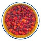 Fruit berry flan, tart. Dessert. Isolated on white. Royalty Free Stock Photo
