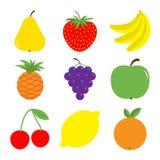 Fruit berry icon set. Pear, strawberry, banana, pineapple, grape, apple, cherry, lemon, orange. Fresh farm healthy food. Education Royalty Free Stock Image