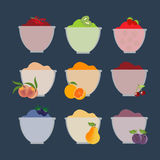 Fruit berry jam. Pear orange kiwi cherry peach plum strawberry. Vector illustration Stock Photos