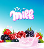 Fruit berry milk yogurt design - vector Royalty Free Stock Images