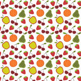 Fruit and berry pattern. Seamless fruit and berry pattern in abstraktonom style on a white background Royalty Free Stock Photos
