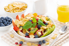 Fruit and berry salad for breakfast Stock Photo