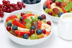 Fruit and berry salad and jug of cream Royalty Free Stock Photo