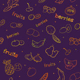 Fruit and berry seamless pattern Stock Photo