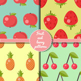 Fruit and berry seamless patterns set, summer patterns set. Apple, strawberry, pineapple, cherry patterns Royalty Free Stock Photography
