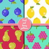 Fruit and berry seamless patterns set, summer patterns set Royalty Free Stock Photography