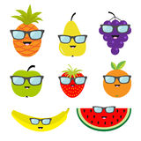 Fruit and berry set eyeglasses sunglasses. Cartoon character face. Banana, strawberry, orange, pineapple, grape, mellon, watermell Stock Photography