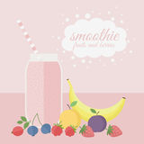 Fruit and berry smoothie in jar on a table Royalty Free Stock Photography