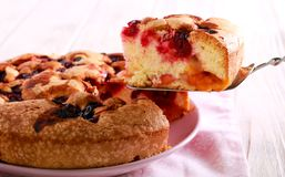Fruit and berry sponge cake, sliced. On plate stock photo