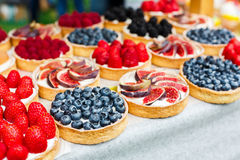 Fruit and berry tarts dessert tray assorted outdoors stock photography