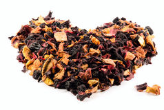 Fruit and berry tea. Closeup on a white background in the form of heart stock photo