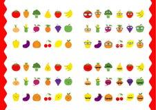Fruit berry vegetable face icon set. Moustaches, eyeglasses, sunglasses. Strawberry banana, pineapple, grape, apple, cherry, lemon Royalty Free Stock Photos