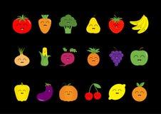 Fruit berry vegetable face icon set. Strawberry, pear, banana, pineapple, grape, apple, cherry, lemon, orange. Pepper, tomato, car Stock Images