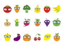 Fruit berry vegetable face sunglasses icon set. Pear, strawberry, banana, pineapple, grape, apple, cherry, lemon, orange. Pepper, Royalty Free Stock Image