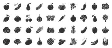 Free Fruit Berry Vegetable Food Glyph Icon Vector Set Royalty Free Stock Images - 161582979