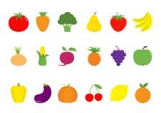 Fruit berry vegetable icon set. Pear, strawberry, banana, pineapple, grape, apple, cherry, lemon, orange. Pepper, tomato, carrot, Royalty Free Stock Image
