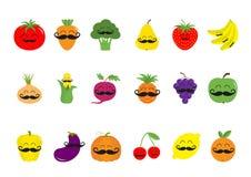Fruit berry vegetable mustache face icon set. Pear strawberry banana pineapple grape apple cherry, lemon, orange. Pepper, tomato, Royalty Free Stock Photo