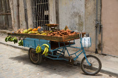 Fruit bicycle. A nice bicycle full of fruit, in old havana royalty free stock photos