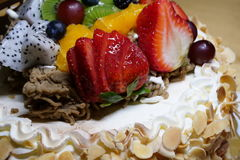 Fruit birthday cake Royalty Free Stock Image