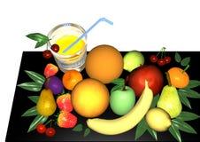 Fruit on black. An assortment of fruit over black and white background, 3D illustration, raster illustration Stock Images