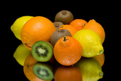 Fruit on a black background closeup Royalty Free Stock Photos