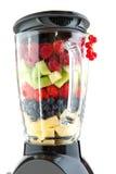 Fruit in the blender. Various healthy fresh fruit in the blender stock photos