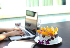 Fruit blow and Business people working at home Royalty Free Stock Photo