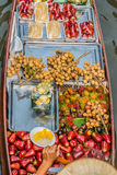 Fruit boat Amphawa bangkok floating market Thailand Stock Photo