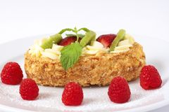 Fruit boat cake with raspberries Royalty Free Stock Photos