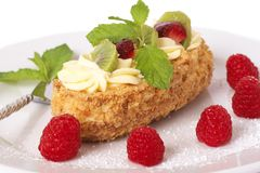Fruit Boat Cake With Raspberries Royalty Free Stock Photography