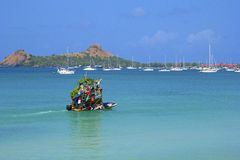 Fruit boat in Rodney bay in St Lucia, Caribbean Royalty Free Stock Photography
