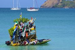 Fruit boat in Rodney bay in St Lucia, Caribbean Royalty Free Stock Photo