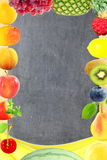 Fruit border frame on blackboard background Healthy eating and dieting food concept with space for text. Nature Food health related Blog art banner web design Royalty Free Stock Image