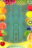 Fruit border frame on old wooden background Healthy eating and dieting food concept with space for text. Nature Food health related Blog art banner web design Stock Images