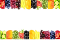 Fruit border frame on white background Healthy eating and dieting food concept with space for text. Nature Food health related Blog art banner web design Royalty Free Stock Photos