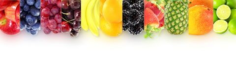 Fruit border frame on white background Healthy eating and dieting food concept with space for text. Nature Food health related Blog art banner web design Stock Image